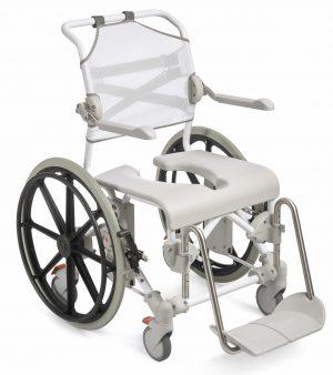 """כסא רחצה ושירותים עם גלגלי הנעה עצמית Swift Mobil 24"""""""