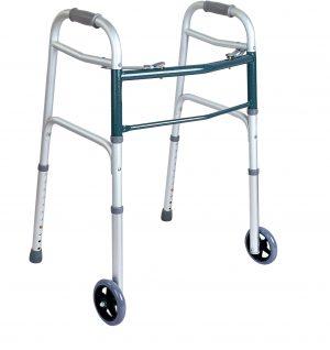 Easy Walk הליכון אלומיניום מתקפל עם 2 גלגלים