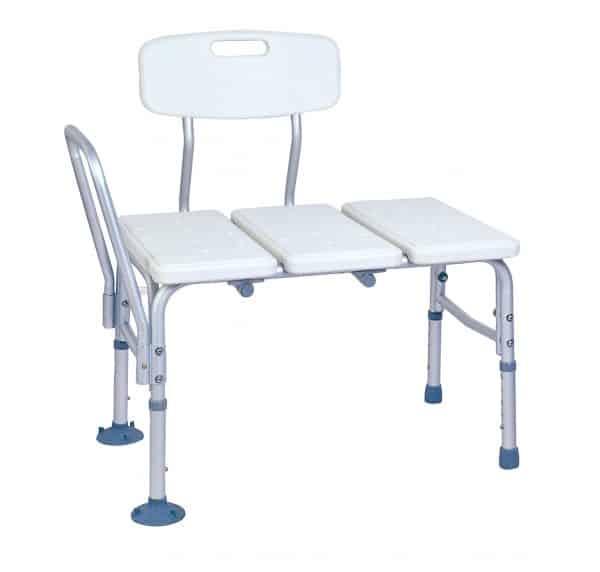 כסא העברה לאמבטיה אלומיניום עם ידית אחיזה נשלפת צד שמאל