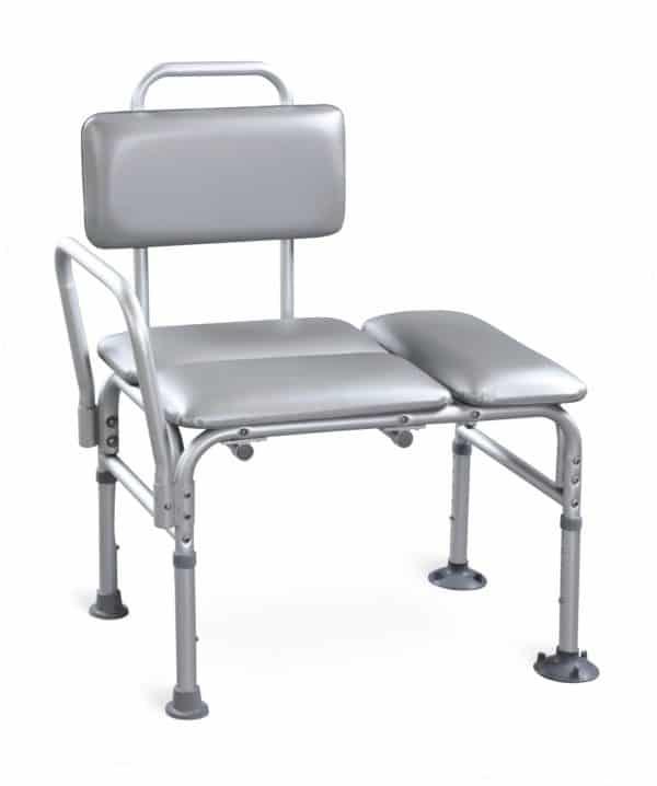 כסא העברה מרופד לאמבטיה עם ידית צד שמאל