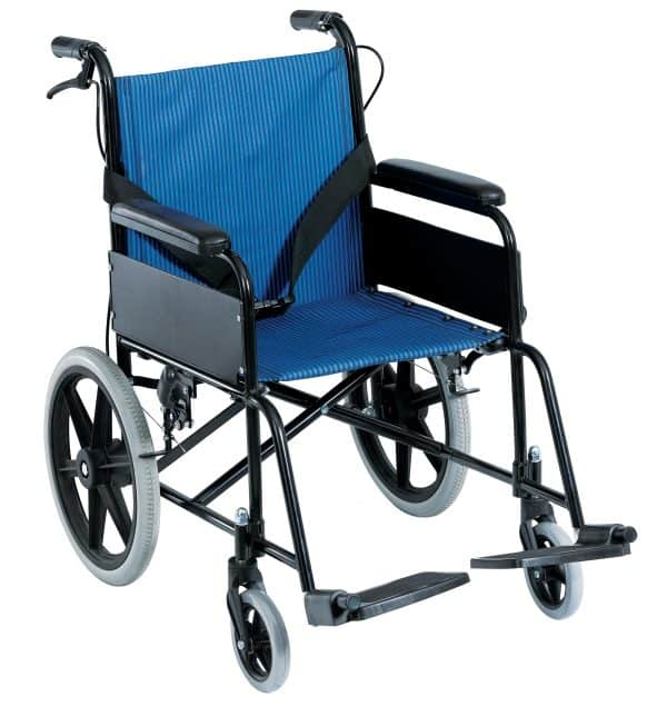 Senior כסא העברה קל משקל עם מעצור יד למלווה
