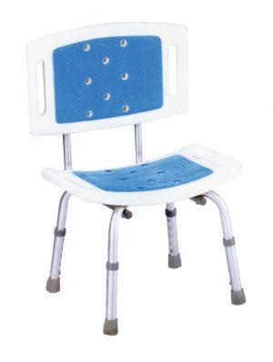 Blue כסא רחצה טלסקופי אלומיניום עם משענת גב