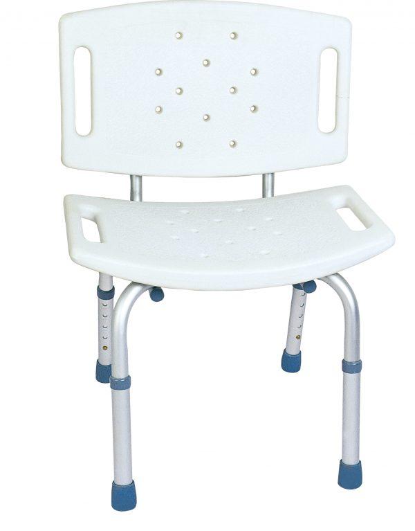 כסא רחצה טלסקופי אלומיניום עם משענת גב