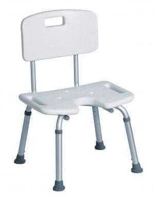 כסא רחצה טלסקופי אלומיניום עם משענת גב ופתח קדמי U