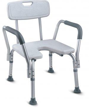 כסא רחצה טלסקופי אלומיניום עם משענת גב ופתח קדמי U עם ידיות