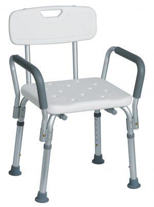 כסא רחצה טלסקופי אלומיניום עם משענת גב עם ידיות