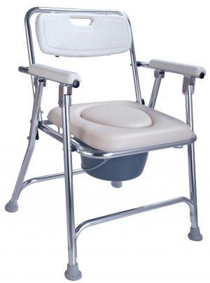 כסא רחצה מתקפל אלומיניום עם מושב רך ידיות ומשענת גב וסיר